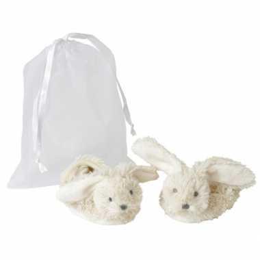 Baby slofjes wit konijn
