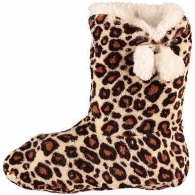 Bruine dames slof sokken met luipaardprint