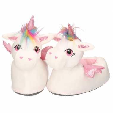 Dieren sloffen/pantoffels eenhoorn wit/roze voor dames