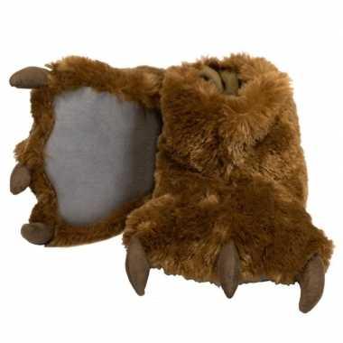 Dierenpoot pantoffels bruine beer voor dames
