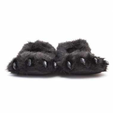 Dierenpoot pantoffels/sloffen beer voor volwassenen zwart 39/41