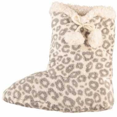 Grijze dames slof sokken met luipaardprint