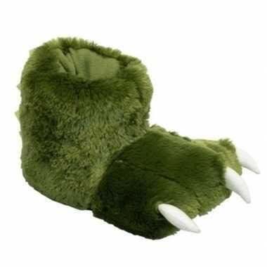 Groene monsterpoten pantoffels voor kinderen