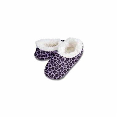 Pantoffels met nepbont paars