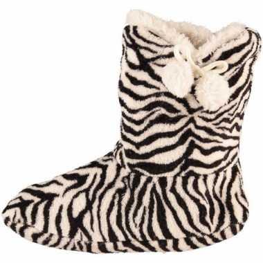 Zwart/wit dames slof sokken met zebraprint