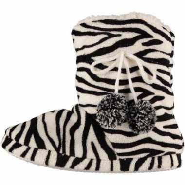 Zwart/wit dames sloffen met zebraprint