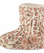 Roze dames sloffen met luipaardprint