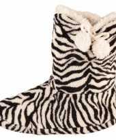 Zwart wit dames slof sokken met zebraprint