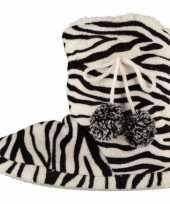 Zwart wit dames sloffen met zebraprint
